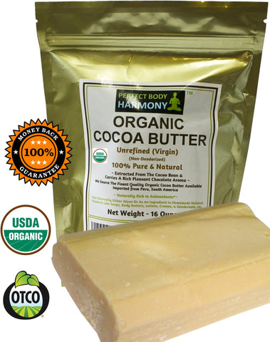 premium Virgin natural Cocoa Butter Bars - 16 oz -certified organic from perfect body harmony