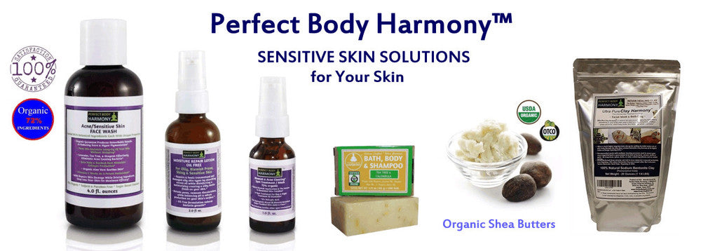 sensitive skin facial serums, lotions, treatments, clays, and organic soaps