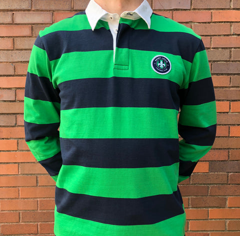 STLFC 2018 Navy/Green Striped L/S Polo - Men's