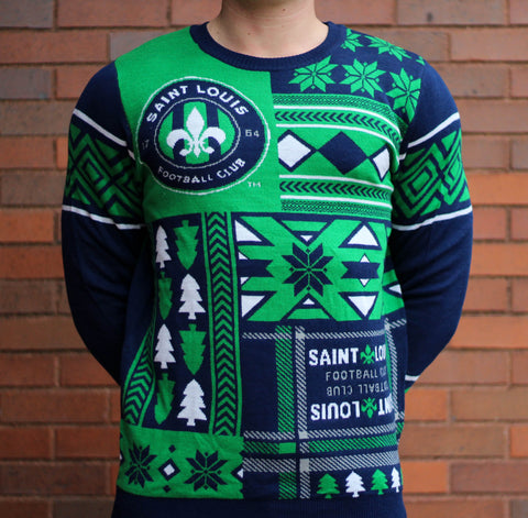 STLFC 2015 Green / Navy Ugly Christmas Sweater-Men's