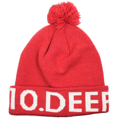 10 Deep Knit Beanie, Red, OneSize
