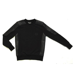 D9 Pleated Crewneck, Blk, XXL