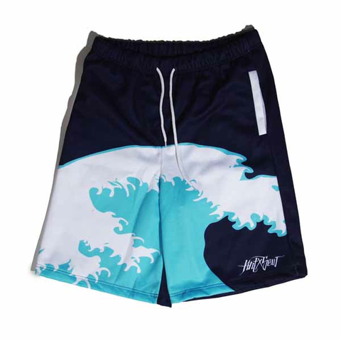 Filthy Dripped Art and Sew Jordan 11 Georgetown Waves Fleece Shorts