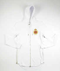 D9 Family Crest Elongated Zip Up Hoodie , Wht, L