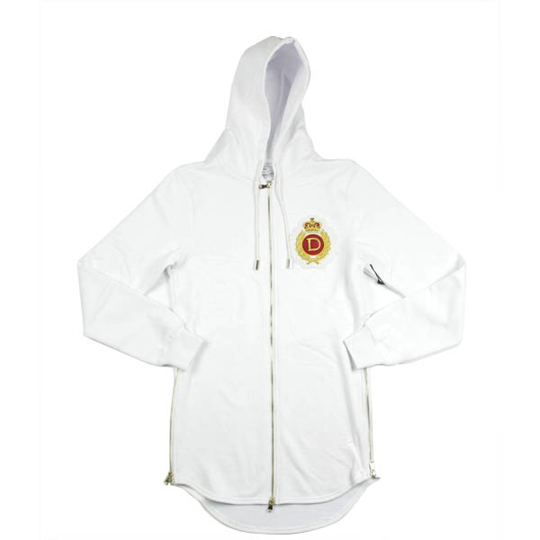 D9 Family Crest Elongated Zip Up Hoodie , Wht, XXL