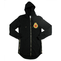 D9 Family Crest Elongated Zip Up Hoodie , Blk, XL