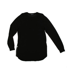 D9 L/S Elongated Thermal Tee , Blk, XL