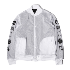 Civil High Rank 08 Mesh Bomber Jacket, Wht, XXL