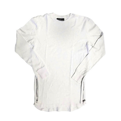 D9 L/S Elongated Thermal Tee , Wht, XL