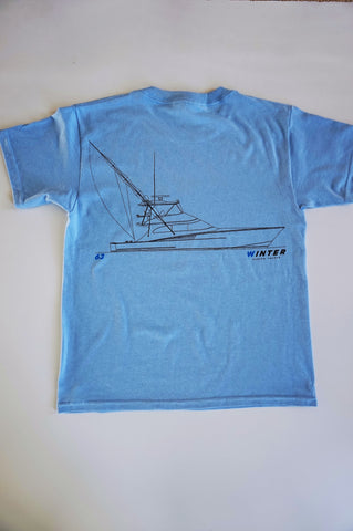 63' Line Drawing Youth Short Sleeve Shirt - Cerulean Blue