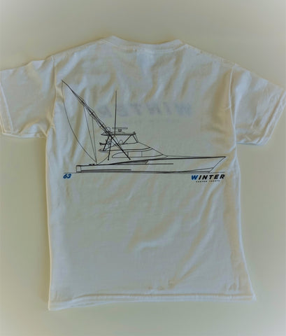 63' Line Drawing Youth Short Sleeve Shirt - White