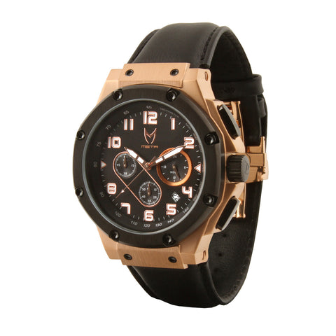 MEISTER AMBASSADOR ROSE GOLD WITH BLACK LEATHER BAND