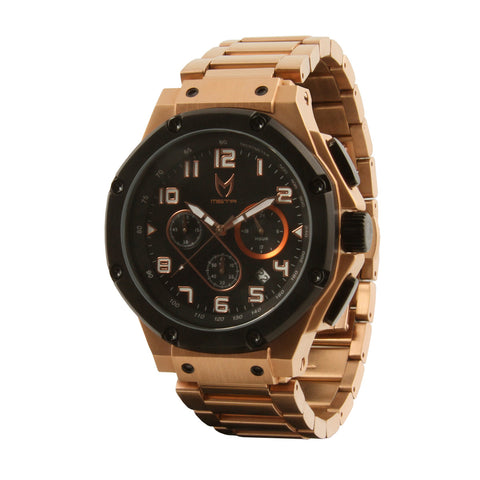 MEISTER AMBASSADOR STAINLESS BLACK DIAL ROSE GOLD BAND