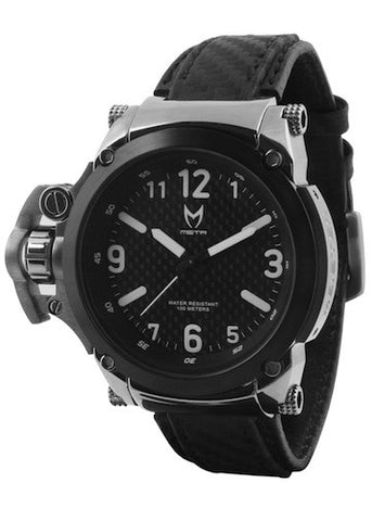 MEISTER Commander w/ Black Leather Band (Silver / Black)