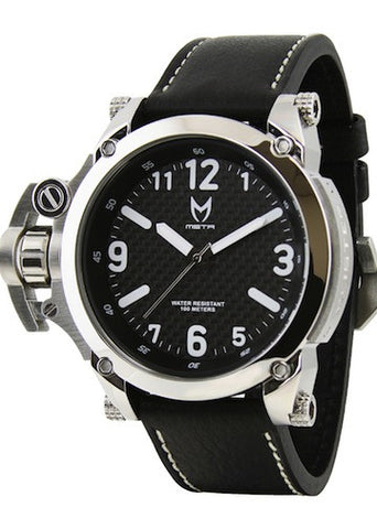 MEISTER Commander w/ Black Leather Band (Black Leather/Silver)