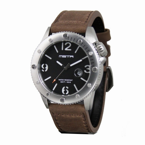 MEISTER MARINE STAINLESS SILVER AND BLACK WITH BROWN LEATHER BAND