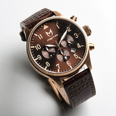 AVIATOR ROSE GOLD BROWN WATCH WITH BROWN CROC BAND