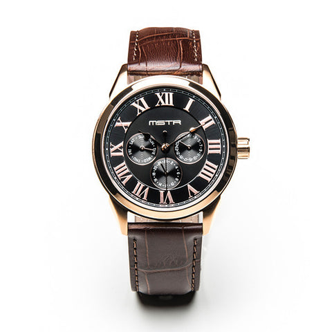 MEISTER CLASSIC ROSE GOLD WITH BROWN CROC LEATHER BAND