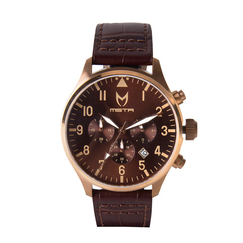 MEISTER AVIATOR ROSE GOLD BROWN CROC BAND