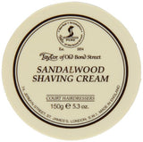 Taylor of Old Bond Street Sandalwood Shaving Cream. Use over Pre-Shave Oil and with safety razor. Taylor of Old Bond Street on bigbeardbalm.com blog. Use with straight edge razor for close shave.