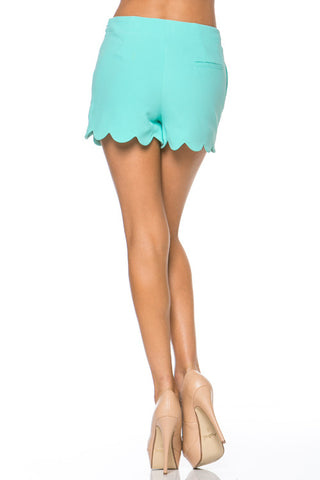 Mint Scalloped Hem Shorts