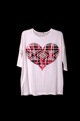 KIDS Ivory Top with Red Heart Print