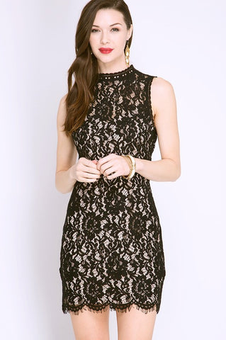 Black Scalloped Lace Dress