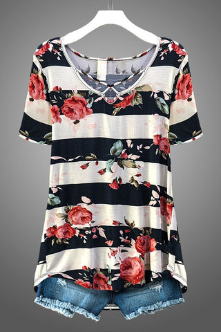 Navy & Ivory Stripe Floral Top
