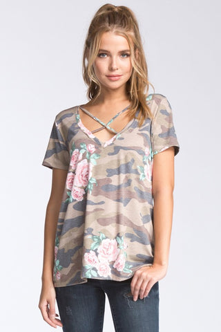 Camo Criss Cross Top