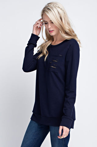 Navy Distressed Pocket Top