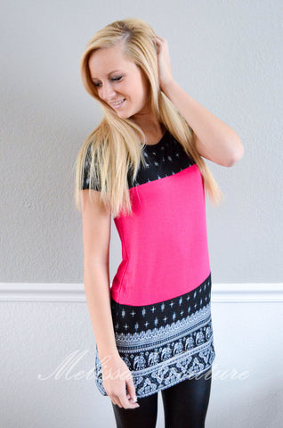 Black/Fuschia Top