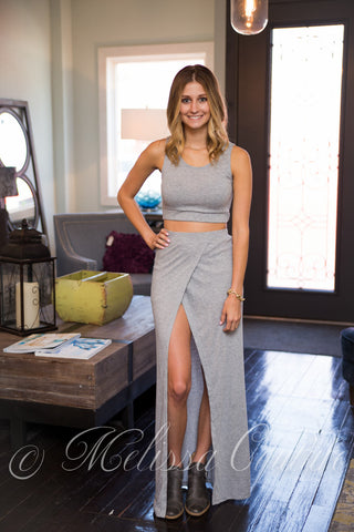 Grey Crop Top & Front Slit Maxi Skirt Set