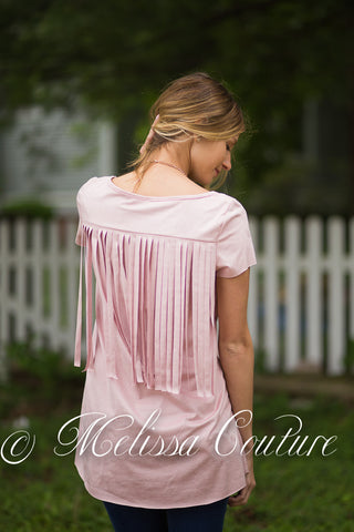Mauve Suede with Back Fringe Top