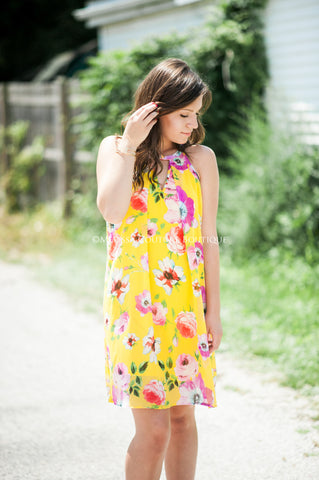 Bright Yellow Floral Dress