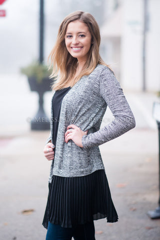 Heather Gray Long Cardigan