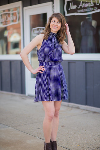 Polka Dot Print Tie Neck Dress