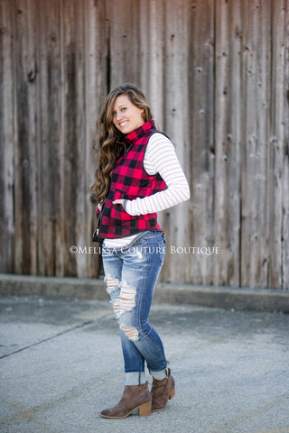 Red & Black Plaid Vest