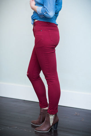 Cut Out Knee Jeans