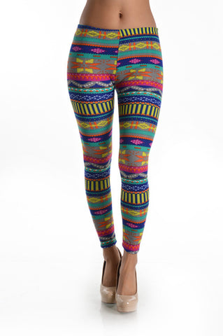 Neon Aztec Print Leggings