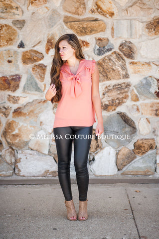 Salmon Ruffle Top