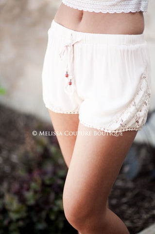Layered Lace Crochet Shorts