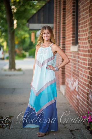 Sheer Colorblock Maxi Dress
