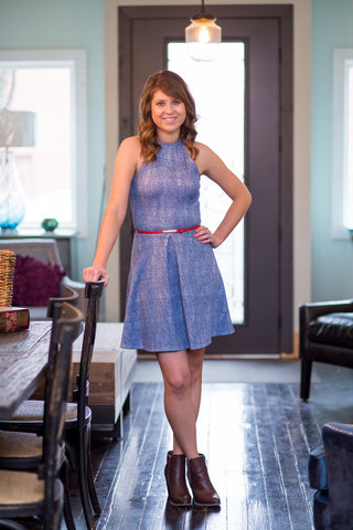 Denim Blue Belted Dress