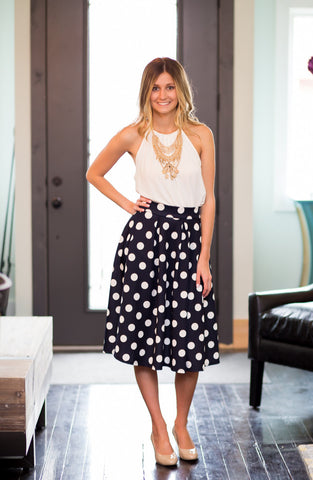 Navy Polka Dot Skirt