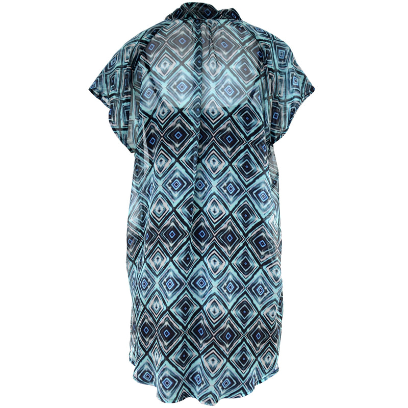 Tiffany Treloar, Printed Silk Georgette Top Blue Diamond - Tiffany Treloar