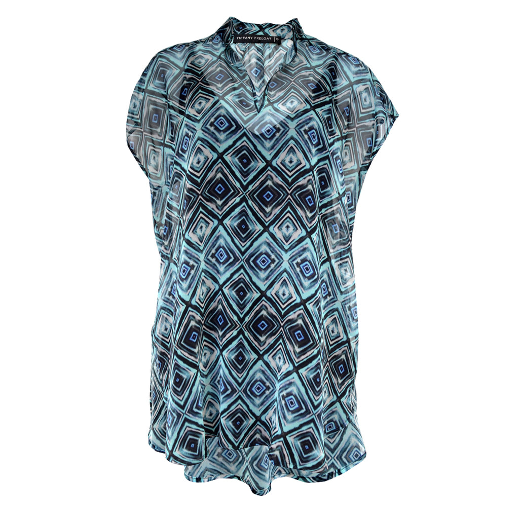 Tiffany Treloar Printed Silk Georgette Top Blue Diamond Front