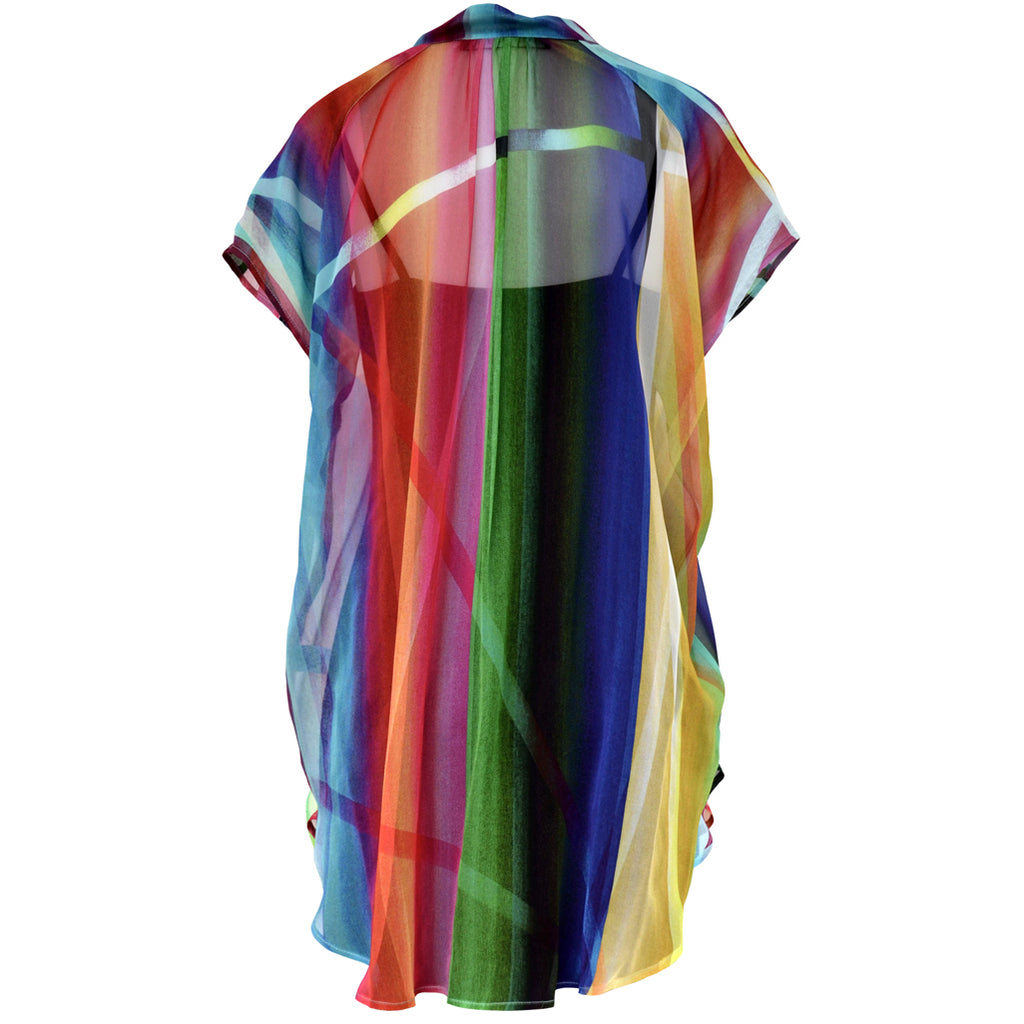 Tiffany Treloar Printed Silk Georgette Top Rainbow Back