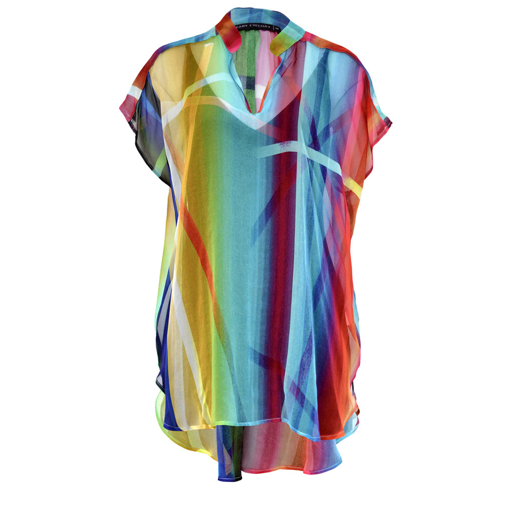 Tiffany Treloar Printed Silk Georgette Top Rainbow Front