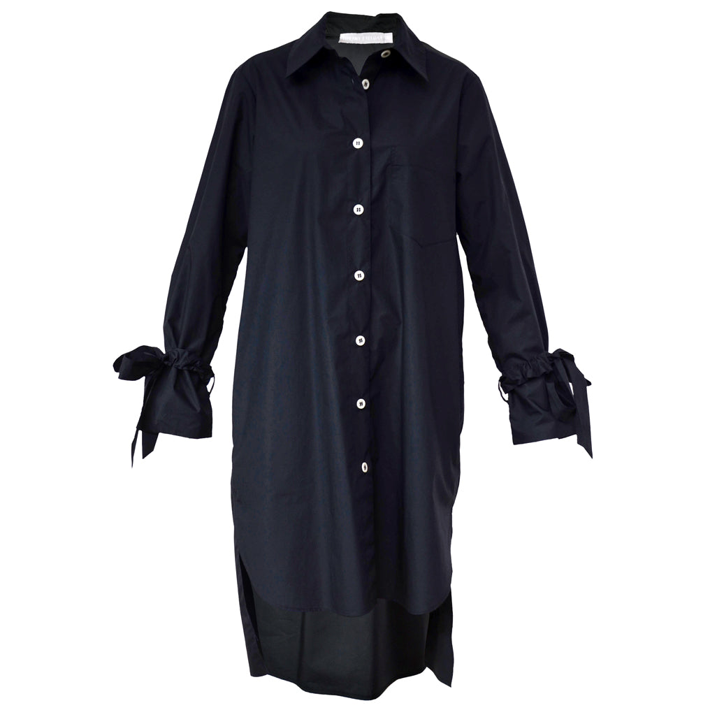 Tiffany Treloar Long Cotton Shirt Dress Black Front