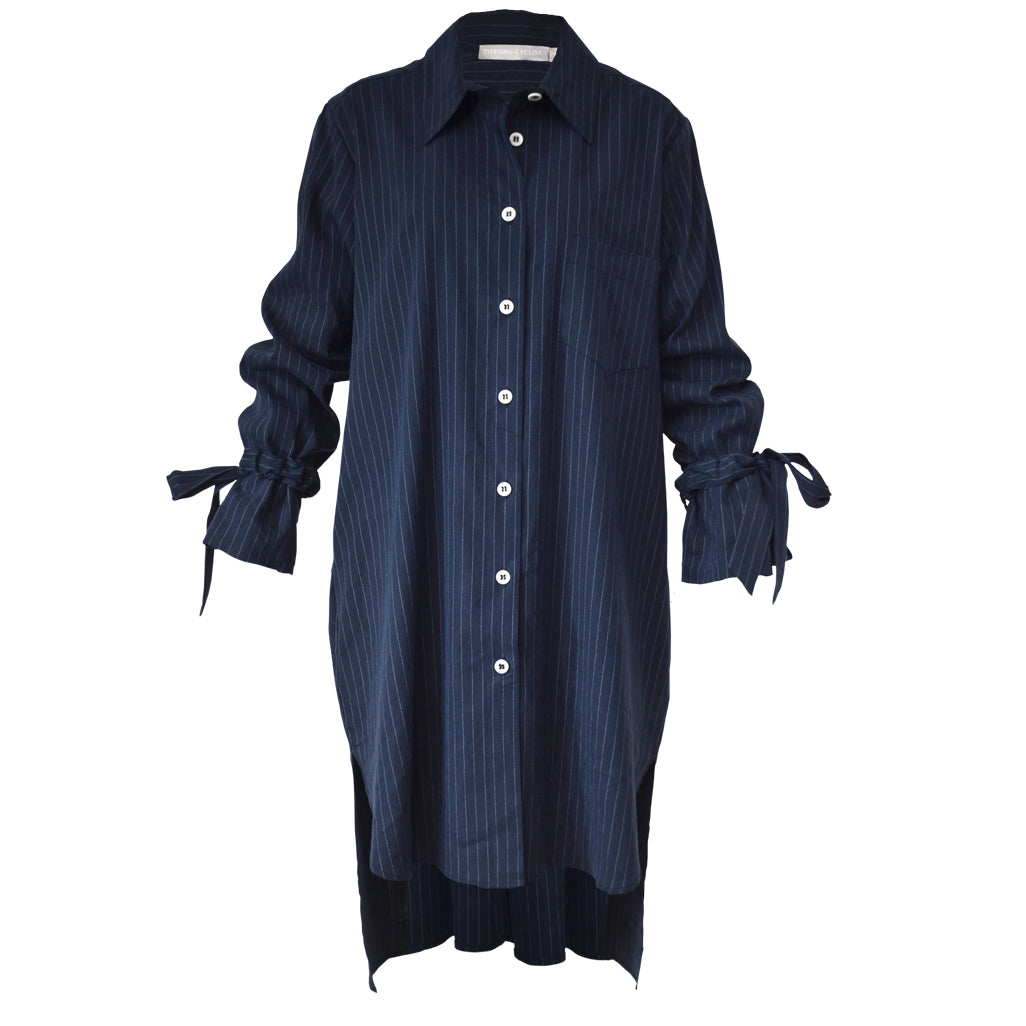 Tiffany Treloar Long Linen Tencel Shirt Dress Black Navy Pinstripe Front